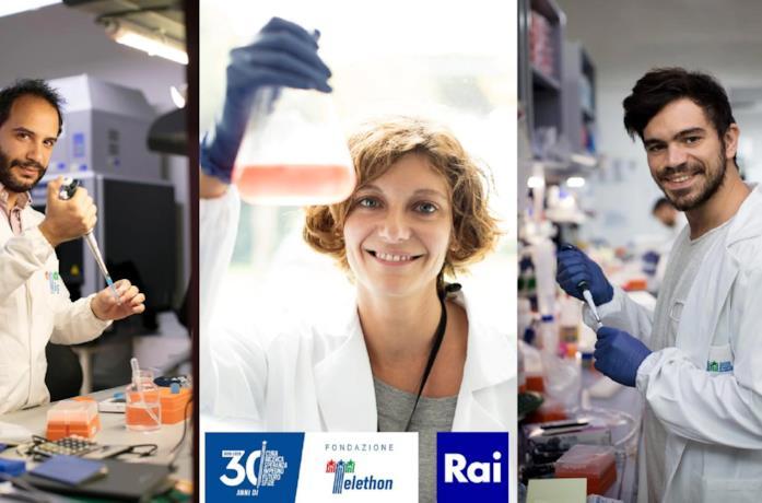 Tre ricercatori nell'immaginale promozionale di Telethon 2020