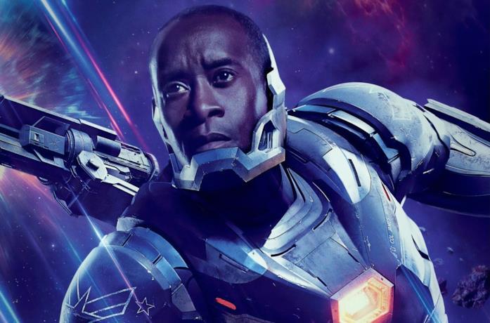 Un'immagine di War Machine nel poster di Avengers: Endgame