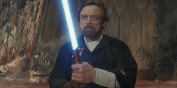 Luke Skywalker interpretato da Mark Hamill nel film Star Wars: Gli Ultimi Jedi