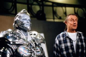 Joel Schumacher sul set di Batman & Robin