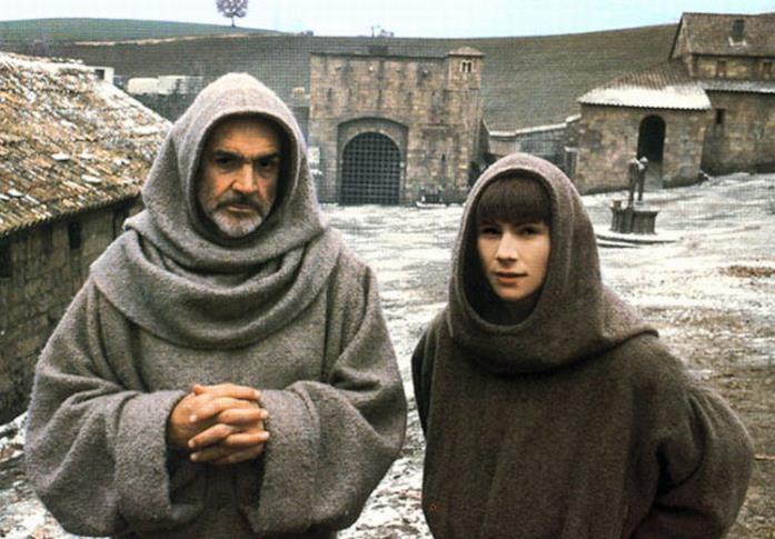 Sean Connery e Christian Slater sul set di Il nome della rosa