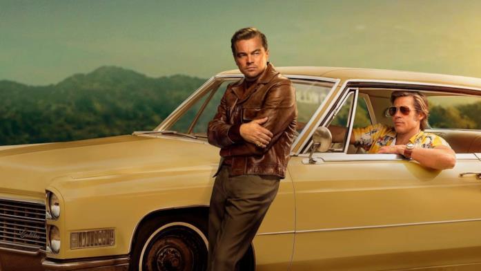 Un'immagine di DiCaprio e Pitt nel poster di C'era una volta a... Hollywood