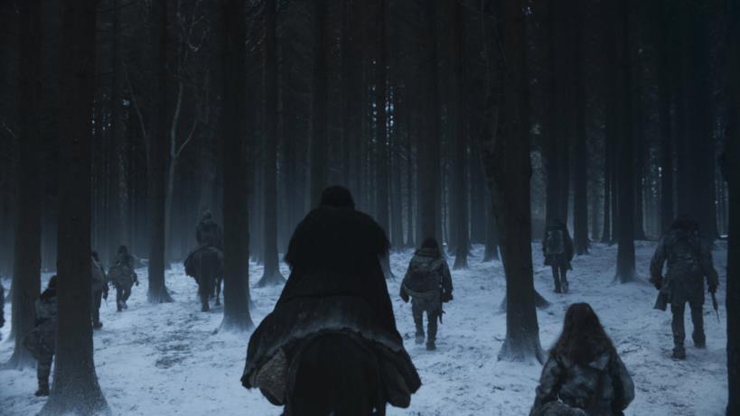 Jon si allontana tra i boschi nell'episodio di GoT 8x06, The Iron Throne