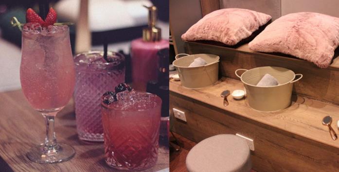 Primo piano di cocktail e una delle sale per trattamenti della Gin Spa di Glasgow