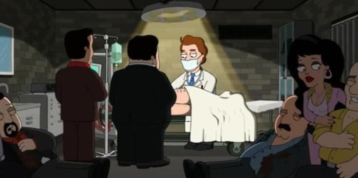 Il Dr. Fist nella serie TV animata The Cleveland Show mentre opera il suo paziente