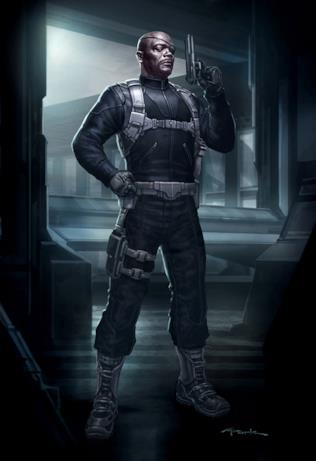 Nick Fury con la pistola in mano