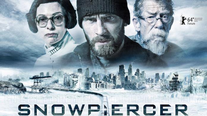 Tilda Swinton, Chris Evans e John Hurt in un'immagine promozionale del film Snowpiercer