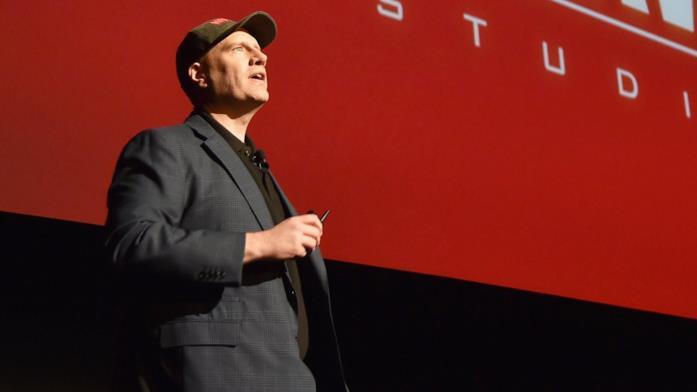 Il presidente dei Marvel Studios Kevin Feige a una conferenza