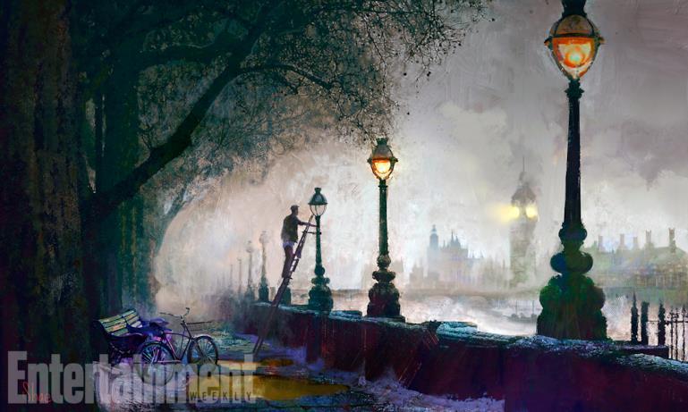 Vista notturna della scenografia londinese