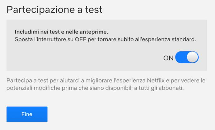 Schermata per partecipare ai test su Amazon
