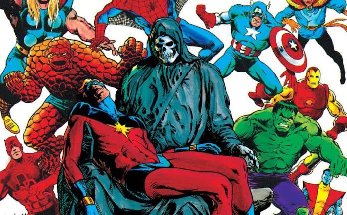 Dettaglio della cover di The Death of Captain Marvel