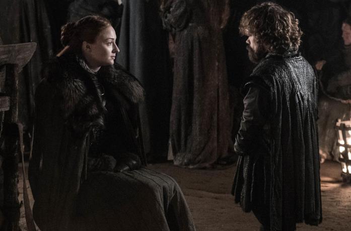 Sophie Turner e Peter Dinklage in Game of Thrones 8