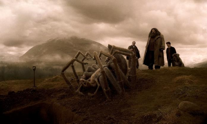 Lumacorno, Harry ed Hagrid assistono al funerale di Aragog di fronte alla sua gigantesca carcassa