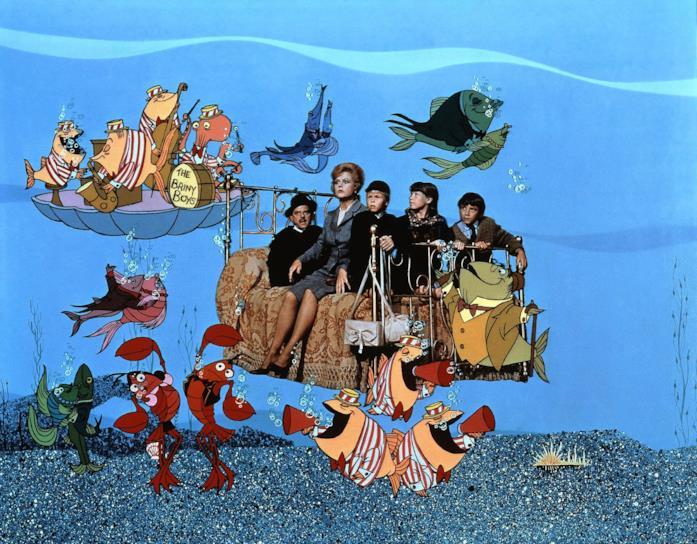 I protagonisti di Pomi d'ottone e manici di scopa sott'acqua in una scena del film