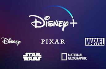 Il logo di Disney+ seguito da quelli di Disney, Pixar, Marvel, Star Wars e NatGeo