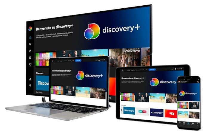 Discovery+ su smart tv, tablet, smartphon e pc