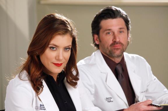 Kate Walsh e Patrick Dempsey in una scena di Grey's Anatomy