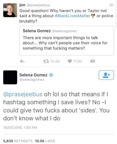 Immagine dei tweet di Selena Gomez ora rimossi