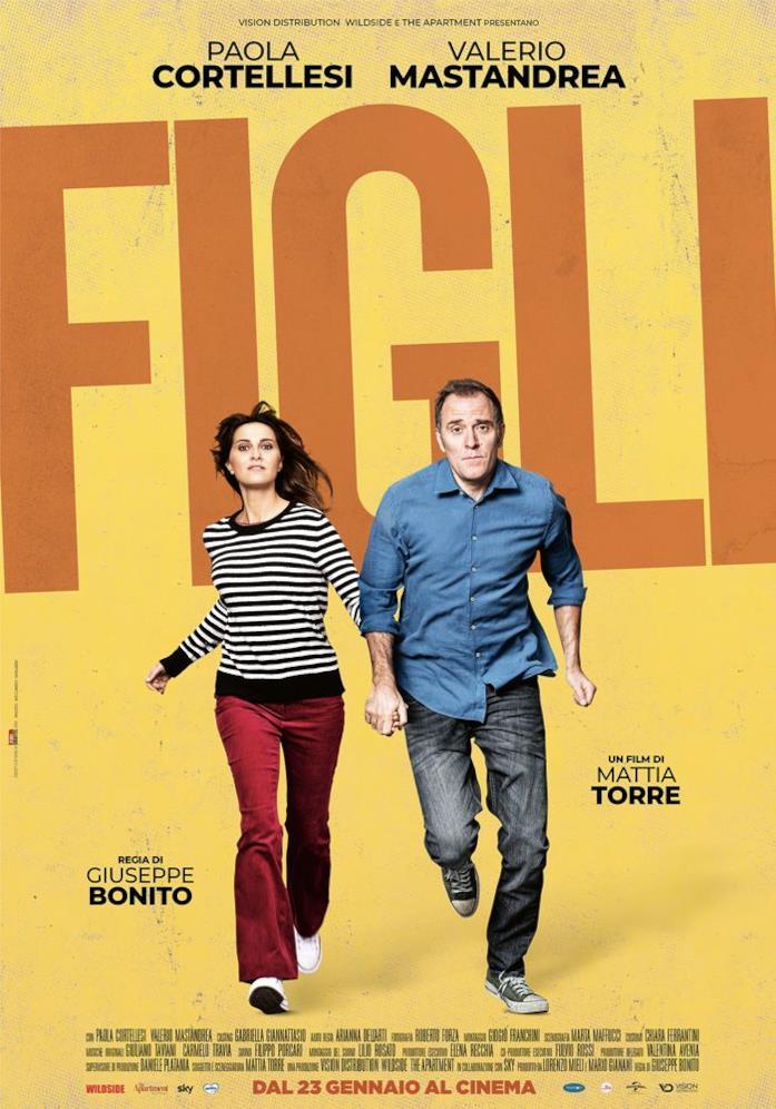 Il poster di Figli, la commedia sceneggiata da Mattia Torre