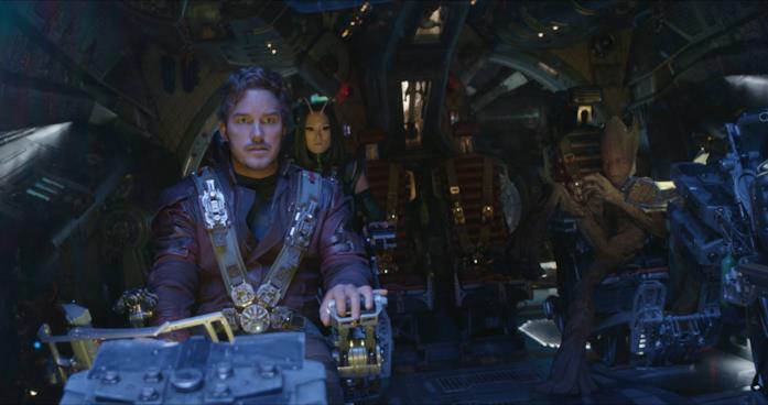 Chris Pratt e Pom Klementieff in Avengers: Infinity War