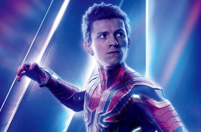 Un'immagine di Tom Holland nel poster di Avengers: Infinity War