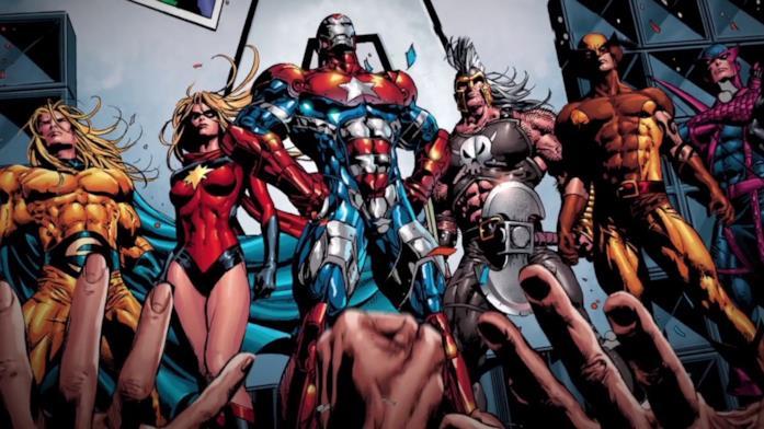 Iron Man e Capitan Marvel nella copertina del fumetto Dark Avengers