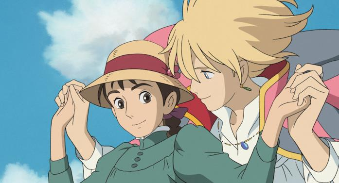 Howl e Sophie passeggiano in cielo