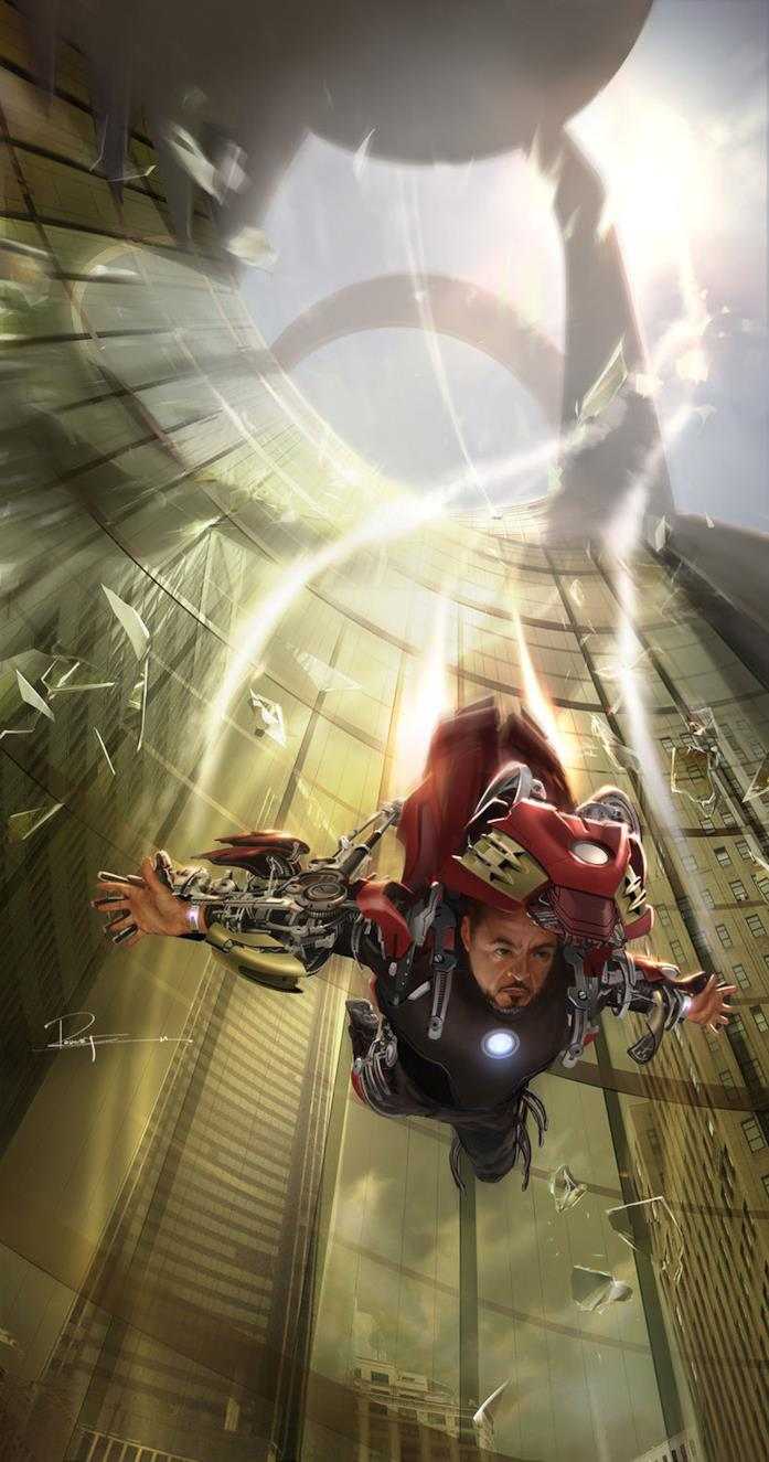 Tony Stark in volo dalla Stark Tower