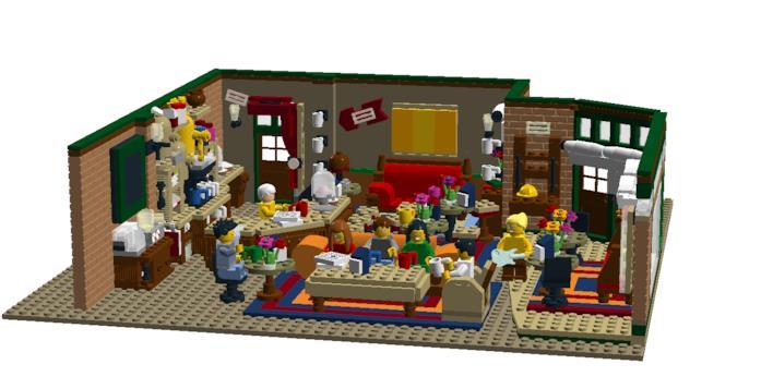 Primo piano del progetto grafico del set LEGO Central Perk Coffee di Friends