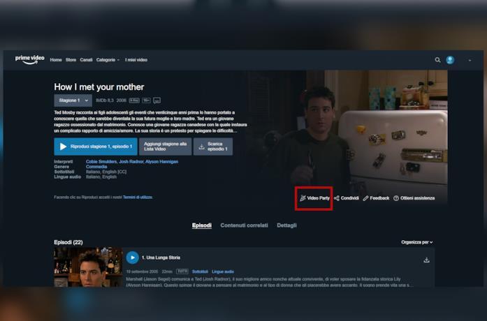 Una schermata di Amazon Prime Video con il tasto Video Party