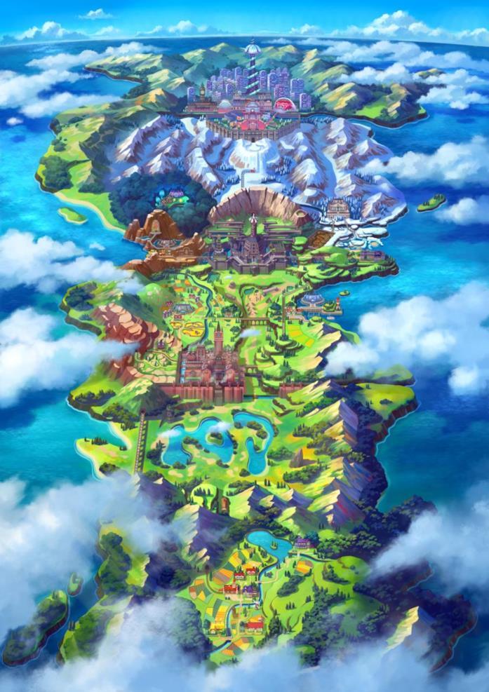 Un concept art del mondo di gioco di Pokémon Spada e Scudo