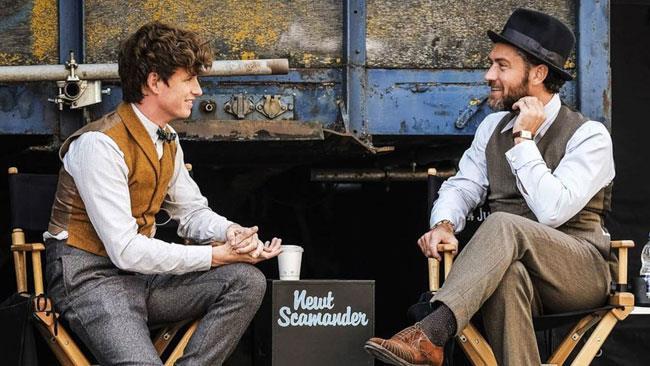Eddie Redmayne e Jude Law sul set di Animali Fantastici 2
