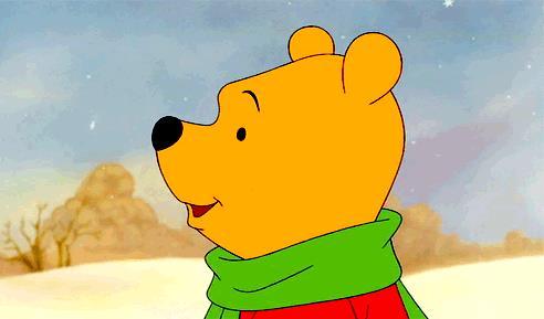 Winnie the Pooh accarezzato dalla neve