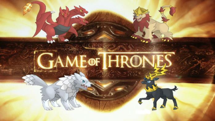 Logo di Game of Thrones con dei Pokémon