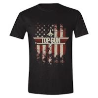 Top Gun Maglietta da Uomo Distressed Flag Cotton Black - XXL