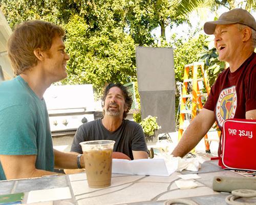 Michael C. Hall in un break delle riprese di Dexter