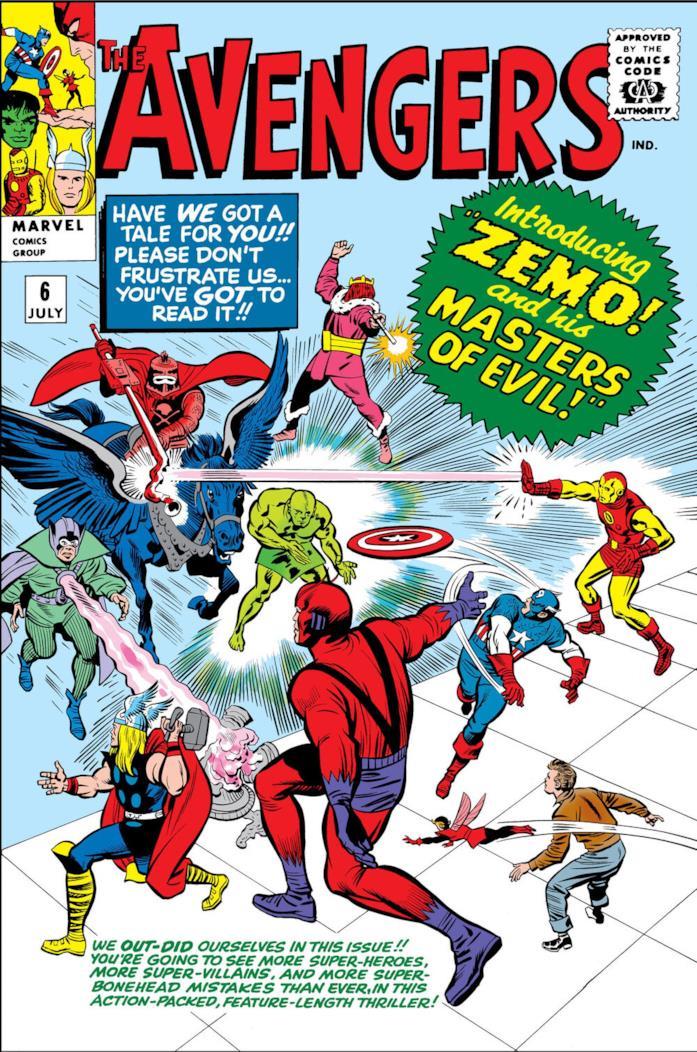 La cover di The Avengers numero 6 mostra i Signori del male contro i Vendicatori