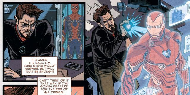 Iron Man nel suo laboratorio nei comics
