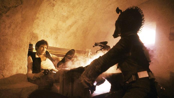 Han Solo e Greedo nell'iconica scena di Una nuova speranza