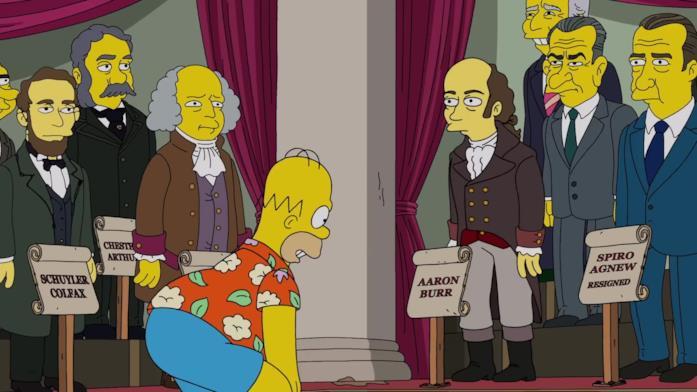 Homer guarda gli animatronic dei vicepresidenti americani nel parco a tema