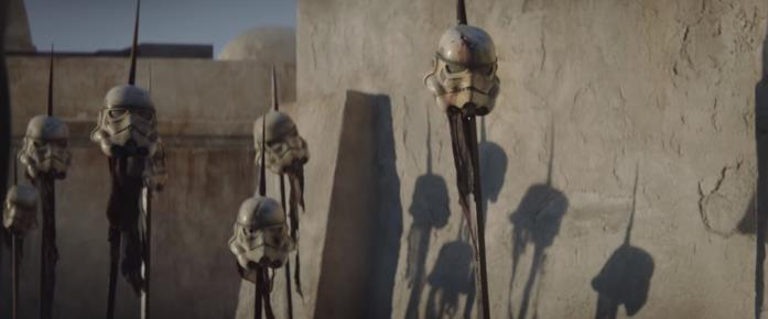 Le picche di Stormtrooper in una scena della serie TV The Mandalorian