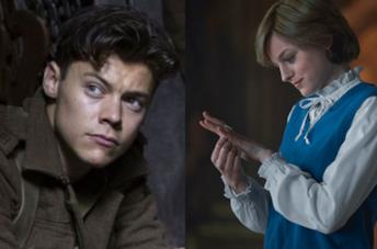 Un collage tra Harry Styles in Dunkirk ed Emma Corrin in The Crown