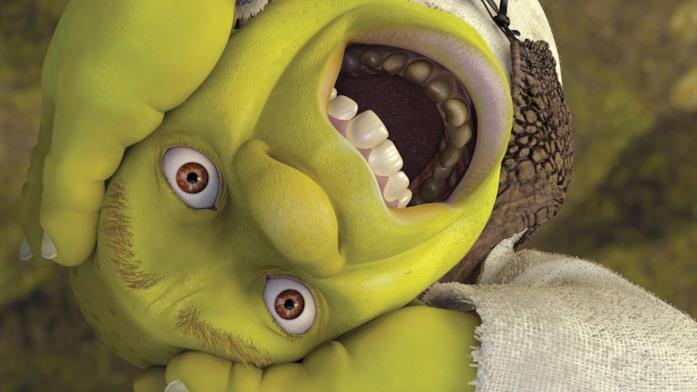 Un primo piano di Shrek, personaggio DreamWorks