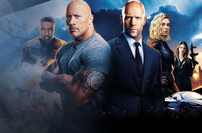 Un'immagine di Dwayne Johnson e Jason Statham nel poster di Hobbs and Shaw