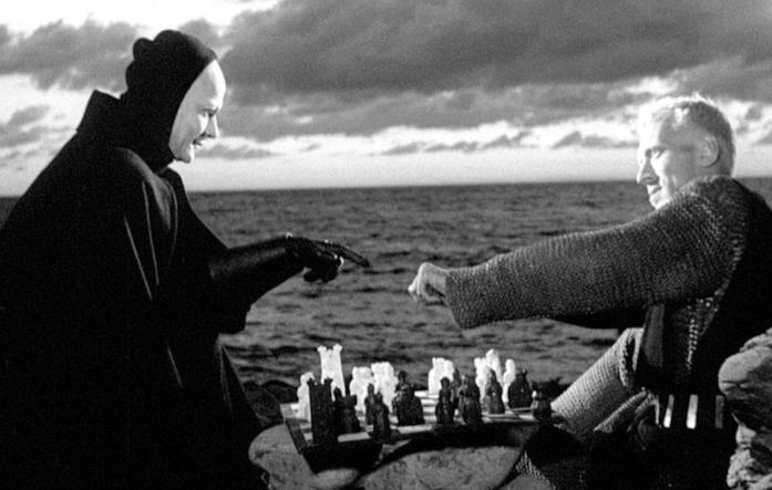 A sinistra la Morte e a destra il Cavaliere, mentre giocano a scacchi