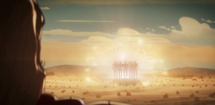 Thor guarda con preoccupazione all'esercito di robot di Ultron