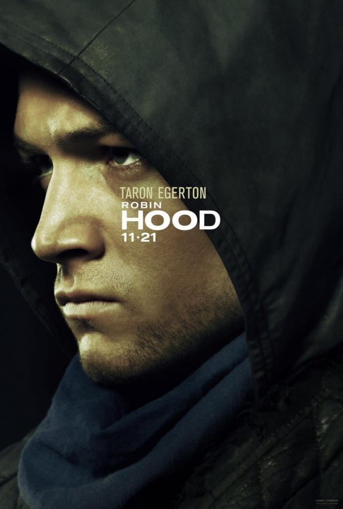 Primo piano di Taron Egerton nel primo poster di Robin Hood