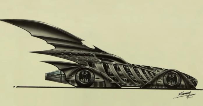 La Batmobile degli anni '90 in un disegno