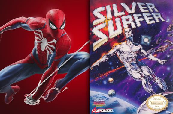 A sinistra la copertina di Marvel's Spider-Man, a destra quella di Silver Surfer del 1990