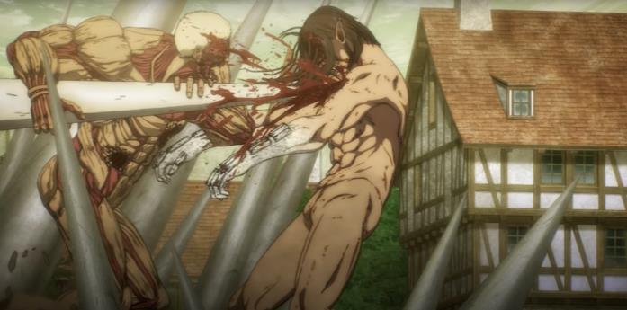 Eren viene ferito da Reiner nella final season